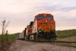 BNSF 5885 under colorful skies